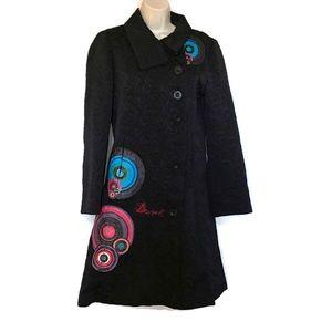 Desigual Womens Size 42 Full Length Jacquard Coat